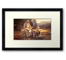 Jesus and the Woman at the Well Framed Print