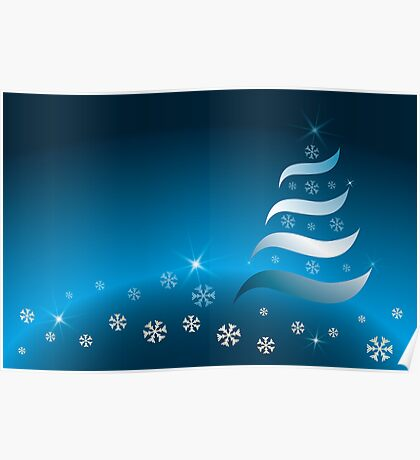 Abstract Christmas tree in various blue and golden colors Poster