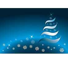 Abstract Christmas tree in various blue and golden colors Photographic Print