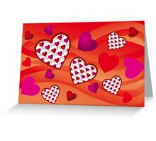 Creative hearts background in various pink and red colors Greeting Card