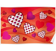 Creative hearts background in various pink and red colors Poster