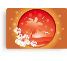 Tropical concept with palm and seagulls in various orange colors Canvas Print