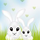 Adorable Easter rabbits in green grass by schtroumpf2510