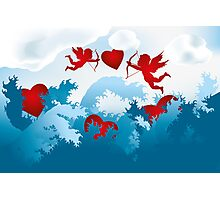 Sea of love - cupids on heart hunting Photographic Print