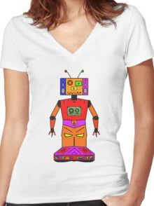 Robot Mix Tape Women's Fitted V-Neck T-Shirt