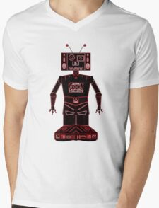 Neon Robot Mix Tape Mens V-Neck T-Shirt