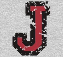 Letter J (Distressed) two-color black/red character Kids Clothes