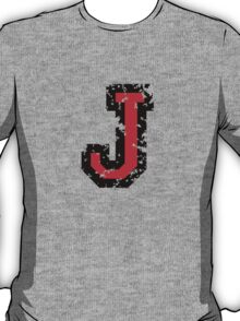 Letter J (Distressed) two-color black/red character T-Shirt