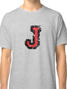 Letter J (Distressed) two-color black/red character Classic T-Shirt