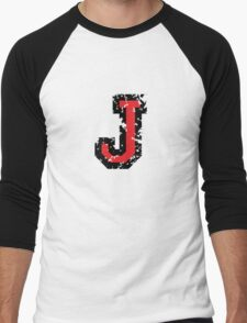 Letter J (Distressed) two-color black/red character Men's Baseball ¾ T-Shirt