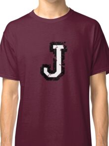 Letter J (Distressed) two-color black/white character Classic T-Shirt