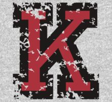 Letter K (Distressed) two-color black/red character Kids Clothes
