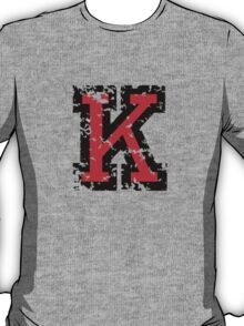Letter K (Distressed) two-color black/red character T-Shirt