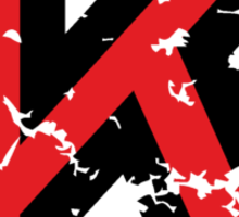 Letter K (Distressed) two-color black/red character Sticker