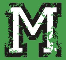 Letter M (Distressed) two-color black/white character Kids Clothes