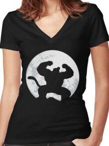 Night Monkey Women's Fitted V-Neck T-Shirt