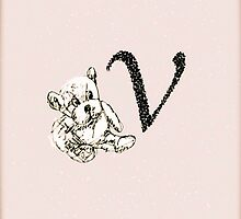 Teddy Bear Vintage Initial V by yendesigns