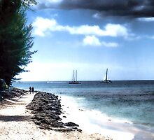 Romantic Walk by the Caribbean Sea by Polly Peacock