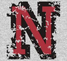 Letter N (Distressed) two-color black/red character by theshirtshops