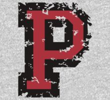Letter P (Distressed) two-color black/red character by theshirtshops