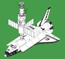 Space Shuttle and Salyut SS Docked Kids Tee