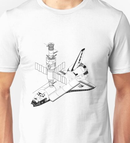 Space Shuttle and Salyut SS Docked Unisex T-Shirt