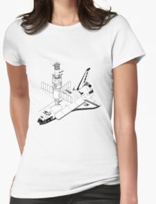 Space Shuttle and Salyut SS Docked Womens Fitted T-Shirt