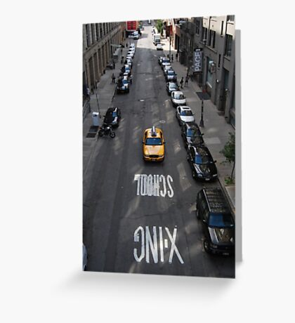 Lone Taxi Greeting Card