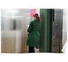 Green Coat Subway Poster