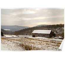 Wintry Farmland Poster