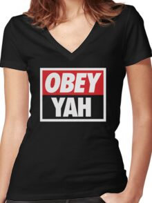 OBEY YAH BLK SHIRT Women's Fitted V-Neck T-Shirt