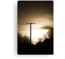 Power Masts in Moon Light Canvas Print