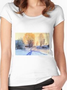 Winter light. Village. Russia Women's Fitted Scoop T-Shirt