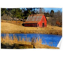 Gorgeous Red Barn, and Cobalt Blue Water. Poster