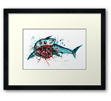 Shark Skeleton Watercolor Framed Print