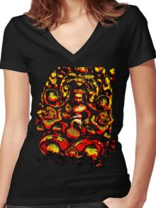 Angkor Carvings Women's Fitted V-Neck T-Shirt