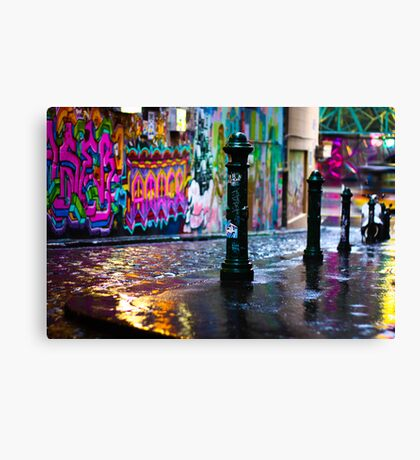 Colour on a rainy day in Hosier Lane Canvas Print