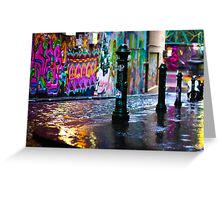 Colour on a rainy day in Hosier Lane Greeting Card