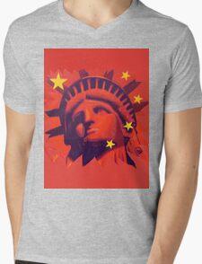 Red Liberty Mens V-Neck T-Shirt