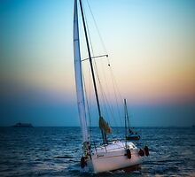 Sailing and sunset by Dobromir Dobrinov