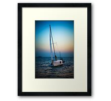 Sailing and sunset Framed Print