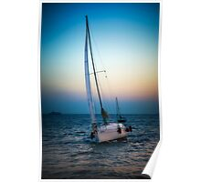 Sailing and sunset Poster