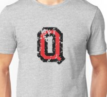 Letter Q (Distressed) two-color black/red character Unisex T-Shirt