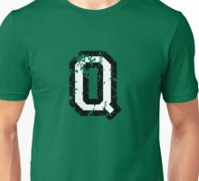 Letter Q (Distressed) two-color black/white character Unisex T-Shirt