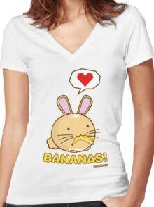 Fuzzballs Bunny Bananas! Women's Fitted V-Neck T-Shirt
