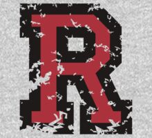 Letter R (Distressed) two-color black/red character by theshirtshops