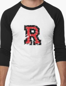 Letter R (Distressed) two-color black/red character Men's Baseball ¾ T-Shirt