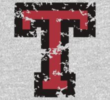 Letter T (Distressed) two-color black/red character Kids Clothes