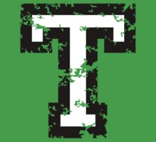 Letter T (Distressed) two-color black/white character by theshirtshops