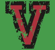Letter V (Distressed) two-color black/red character by theshirtshops